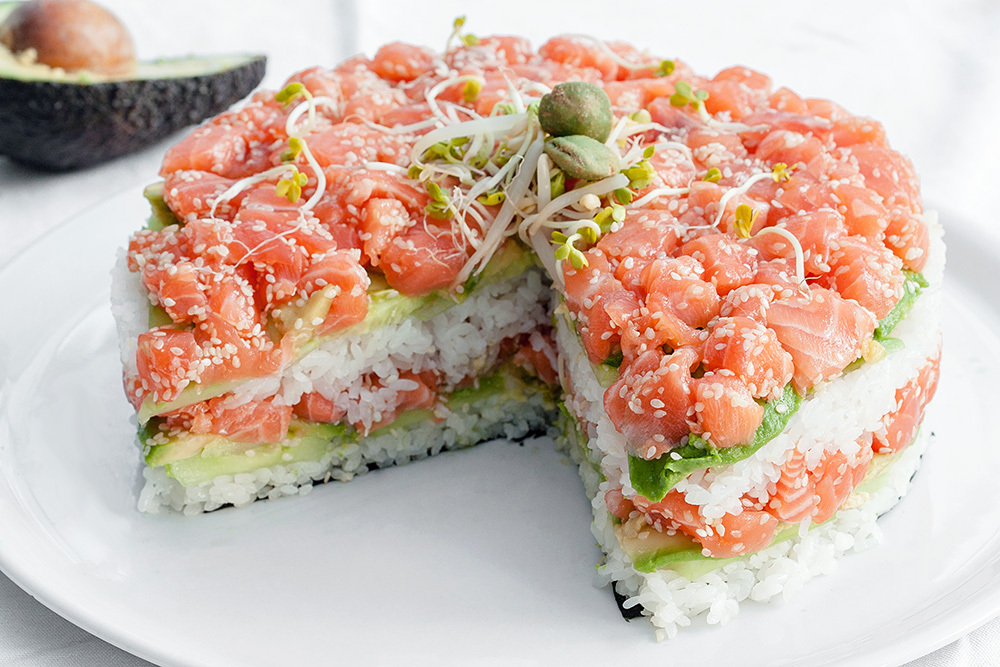 """<strong>Get the <a href=""""http://nowimacook.com/post/26989853251"""">Sushi Cake recipe from Now I'm A Cook!</a></strong>"""