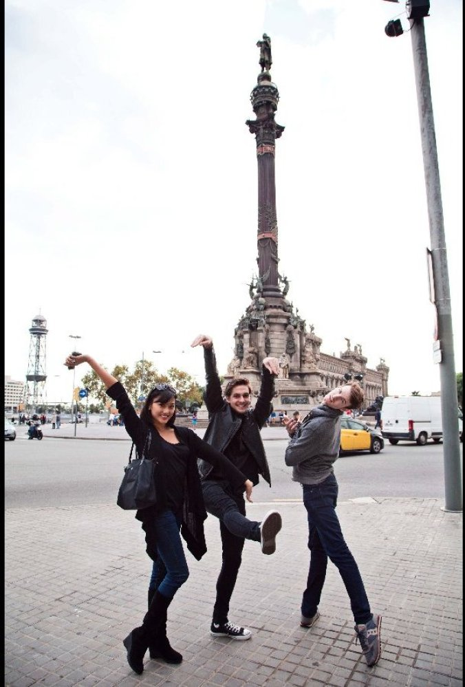"ABT dancers Jennifer Whalen, Joseph Gorak and Daniel Mantei ""discover"" Christopher Columbus in Barcelona. Photo: Renata Pavam"