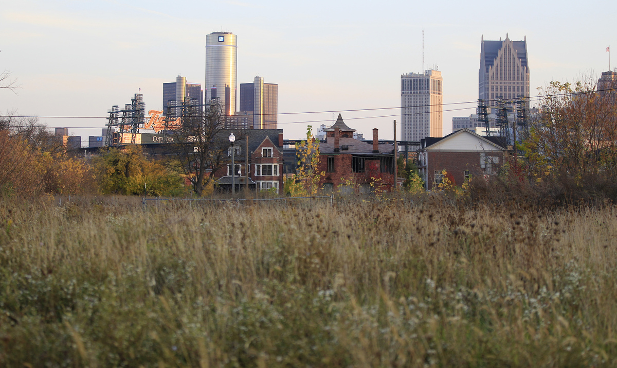This Oct. 24, 2012, photo shows an empty field north of Detroit's downtown. When baseball's World Series returns to Detroit t