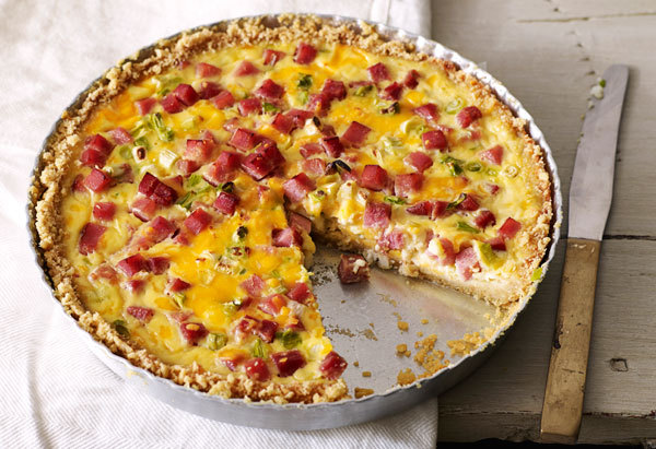 Use whatever crackers or chips you have on hand to create the crust for a hearty (and easy-to-make!) ham and cheese quiche.