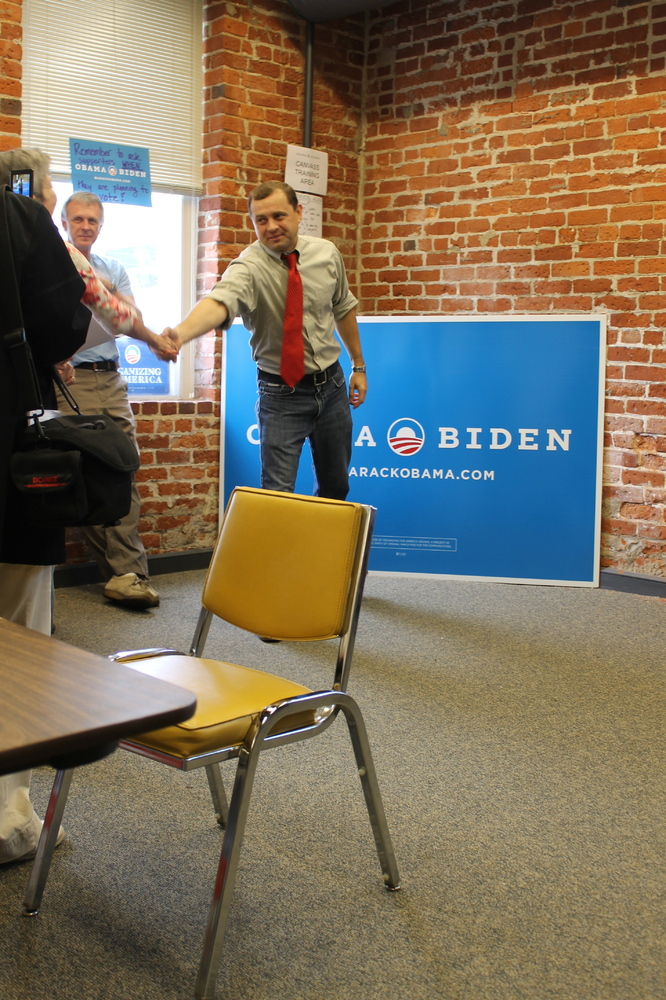 Former Rep. Tom Perriello showed up at the Roanoke Obama campaign office to rally organizers and volunteers during the home s