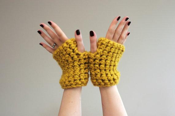 "by Lumi Style, $28   <a href=""http://www.etsy.com/listing/103033973/mustard-yellow-chunky-crochet-wrist"">Etsy</a>"