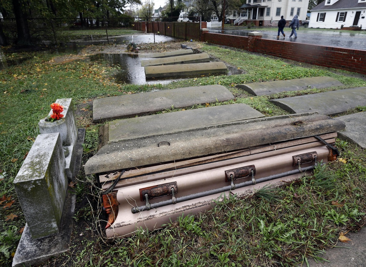 A casket floated out of the grave in a cemetery in Crisfield, Md. after the effects of superstorm Sandy Tuesday, Oct. 30, 201
