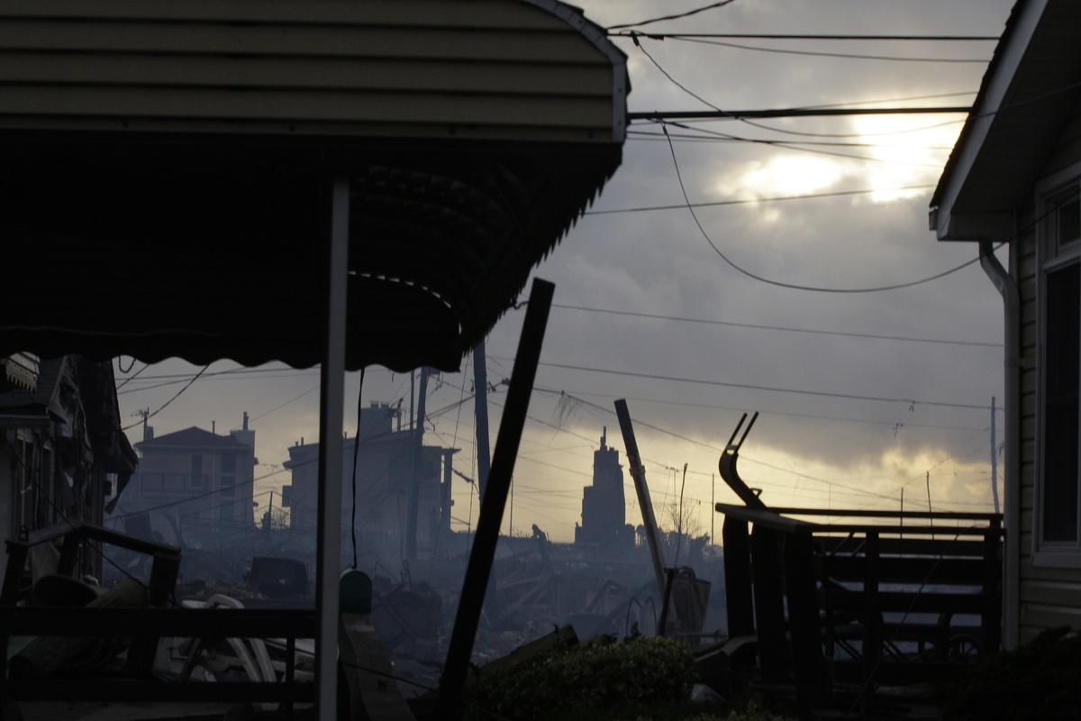 Damage caused by a fire at Breezy Point is shown Tuesday, Oct. 30, 2012, in the aftermath of superstorm Sandy, in the New Yor