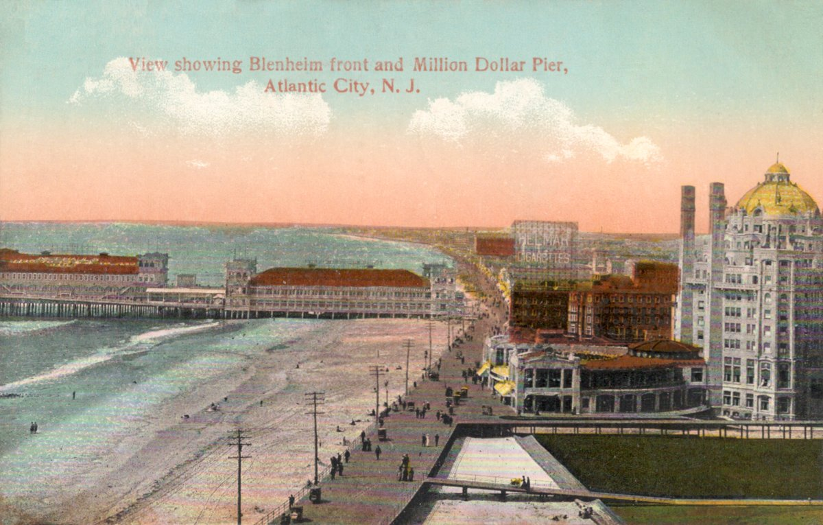 Description 1 View of boardwalk, pier and Blenheim Hotel, Atlantic City, New Jersey, USA.  No publication information.  Back