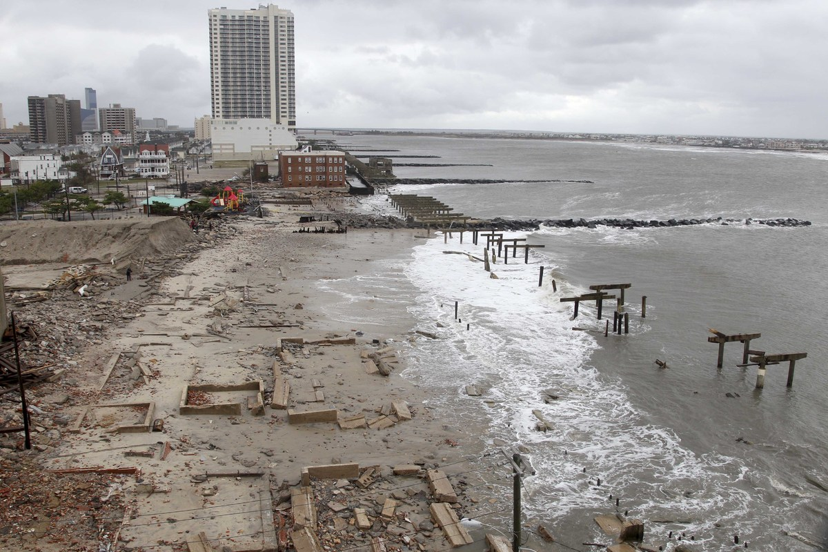Foundations and pilings are all that remain of brick buildings and a boardwalk in Atlantic City, N.J., Tuesday, Oct. 30, 2012