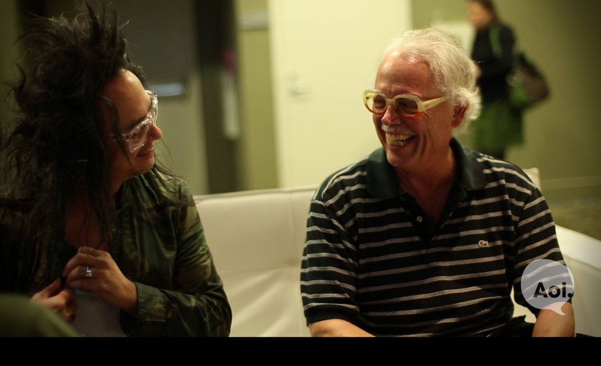 David Shing and David Bunnell chat at the AOL lounge before their interview