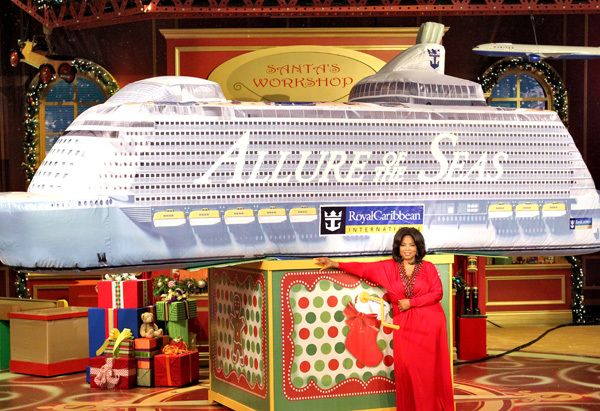 "Audience members in the second ""Ultimate Favorite Things Show"" in 2010 were given a seven-day cruise on the (then-newly launc"