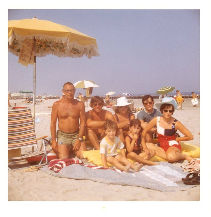 """A family photo taken at Stone Harbor from 1972. """"My grandparents had kept a house there for many years, sharing it with aunts"""