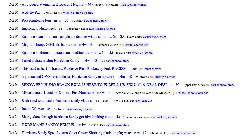 "Here's the good news. If you're a <a href=""http://newyork.craigslist.org/brk/m4w/3377294562.html"">bored woman in Brooklyn</a>"