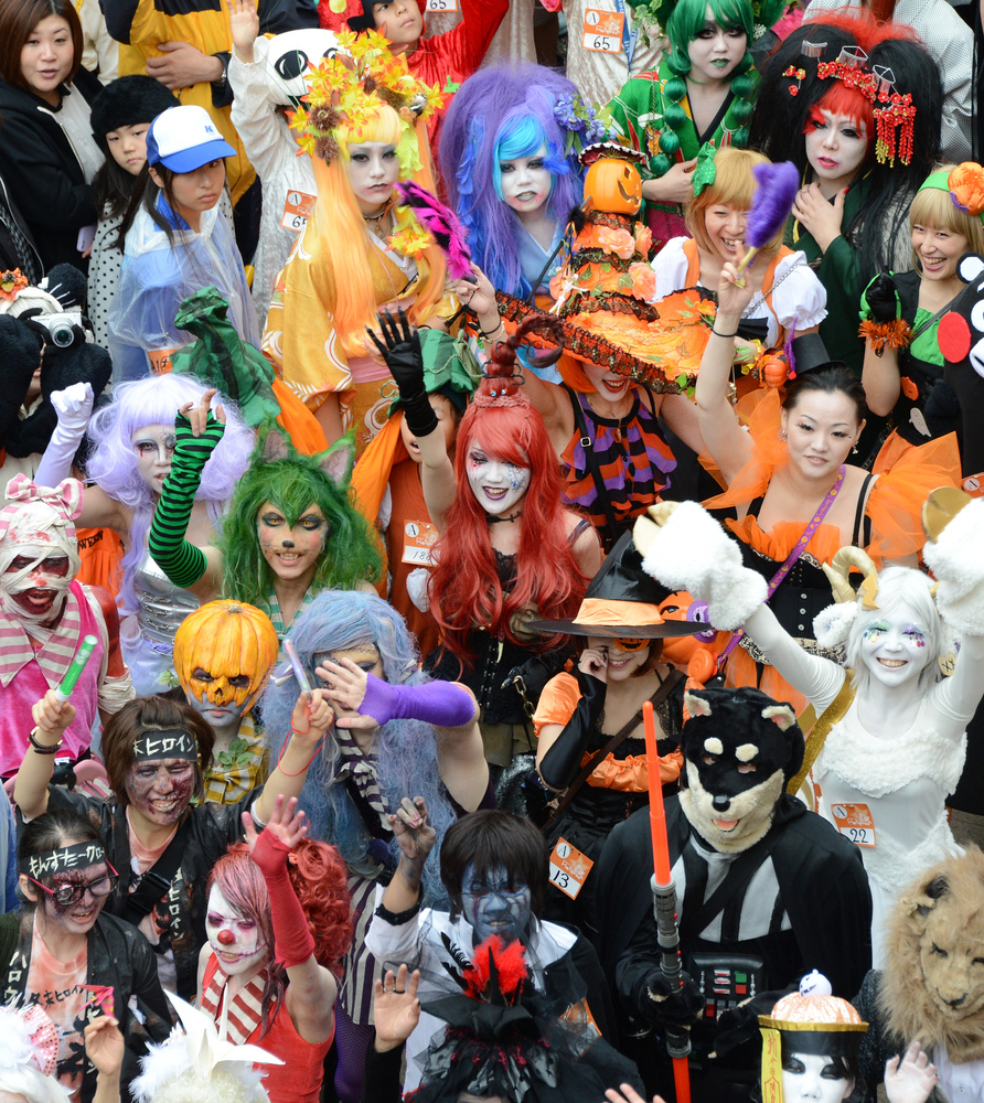 Gathering of the crowd during the Halloween Parade in Kawasaki, suburb of Tokyo on October 28, 2012. (TORU YAMANAKA/AFP/Getty