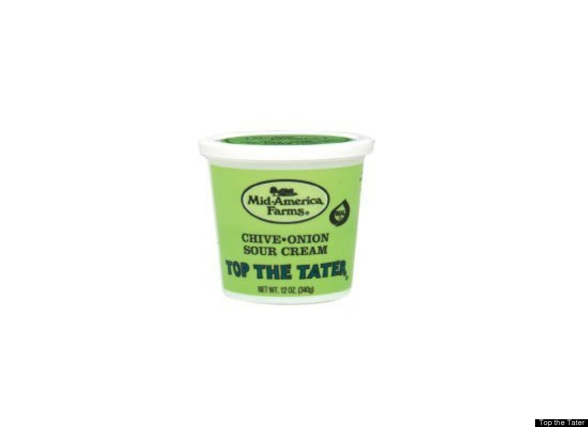 Top the Tater is a mixture of sour cream with onions, chives and seasoning. It's sold specifically as a baked potato topping.