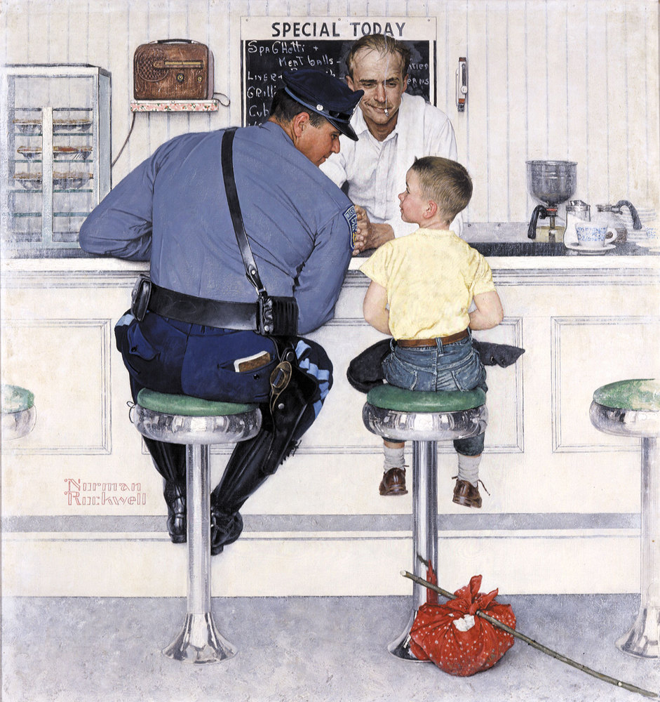 """The Runaway, Norman Rockwell, 1958. Oil on canvas, 35 3/4"""" x 33 1/2'"""" Cover illustration for The Saturday Evening Post, Septe"""