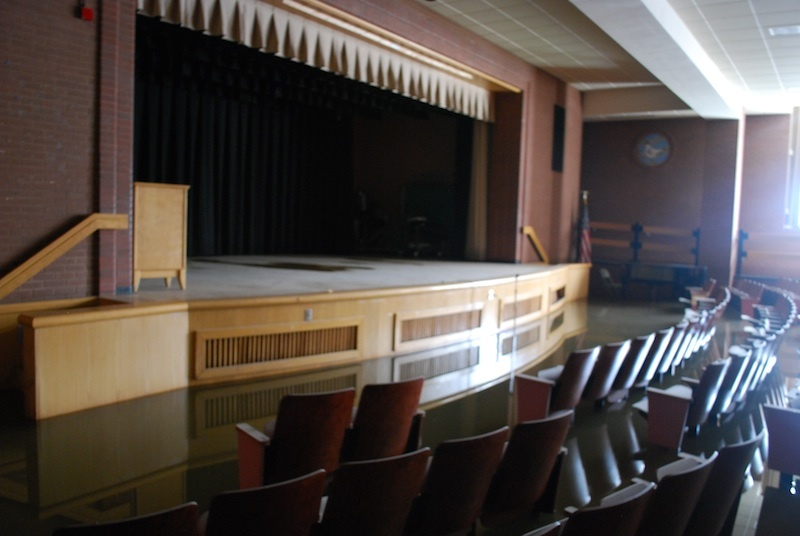 The auditorium at P.S. 195 in Manhattan Beach remained flooded on Wednesday afternoon. At its highest level, the water was ab