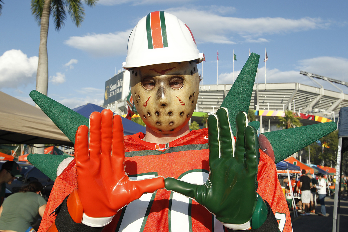 MIAMI GARDENS, FL - NOVEMBER 1: Miami Hurricanes fan Kevin Bell makes the sign of the 'U' outside Sun Life Stadium prior to t