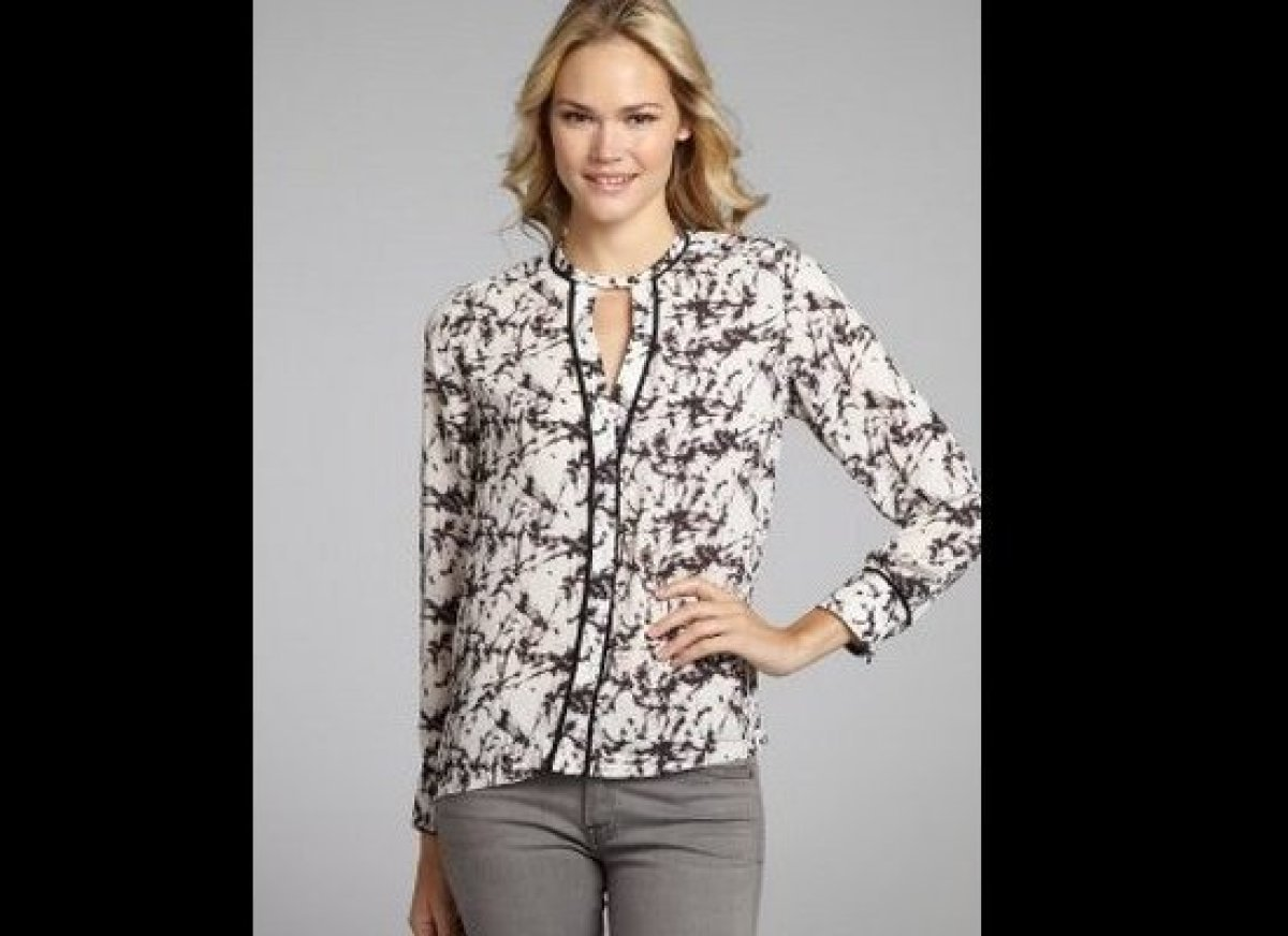 """<a href=""""http://www.bluefly.com/greylin-white-marbled-chiffon-farrah-long-sleeved-button-front-blouse/PRODUCT_FEED/319999401/"""
