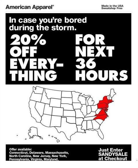 "As the East Coast battled Hurricane Sandy on Monday night, retailer <a href=""https://www.huffpost.com/entry/american-apparel-"