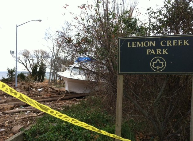 An example of the damage to city parks, Lemon Creek Park in Staten Island.