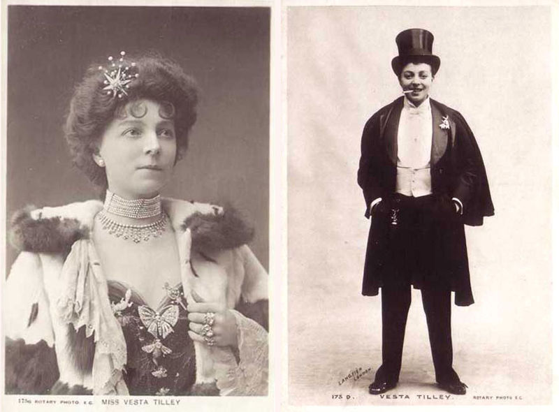 "<a href=""http://www.the-camerino-players.com/britishtheatre/VestaTilley.html"">Vesta Tilley</a> was a pioneer who became Brita"