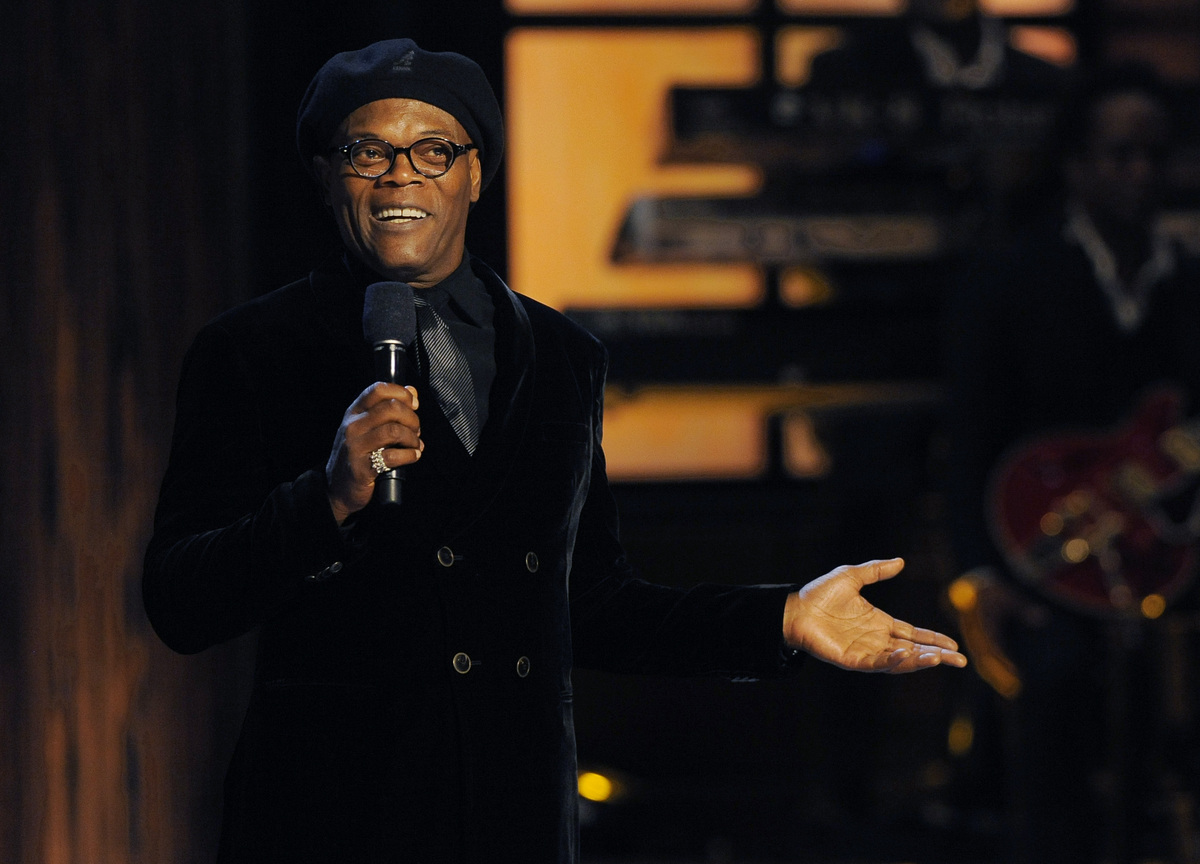 "Actor Samuel L. Jackson addresses the audience at ""Eddie Murphy: One Night Only,"" a celebration of Murphy's career at the Sab"