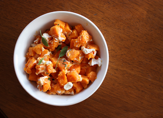 """<strong>Get the <a href=""""http://whippedtheblog.com/2009/07/15/sweet-potato-with-goat-cheese-sage/"""">Sweet Potatoes with Goat C"""