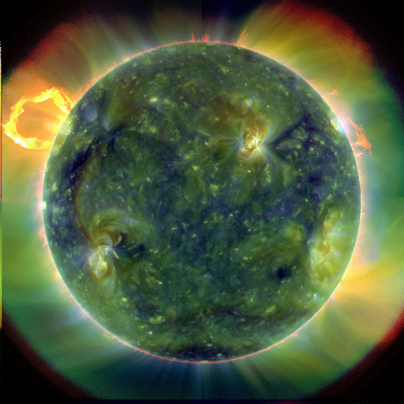 This photo was among the first images taken by the Atmospheric Imaging Assembly on NASA's Solar Dynamics Observatory satellit