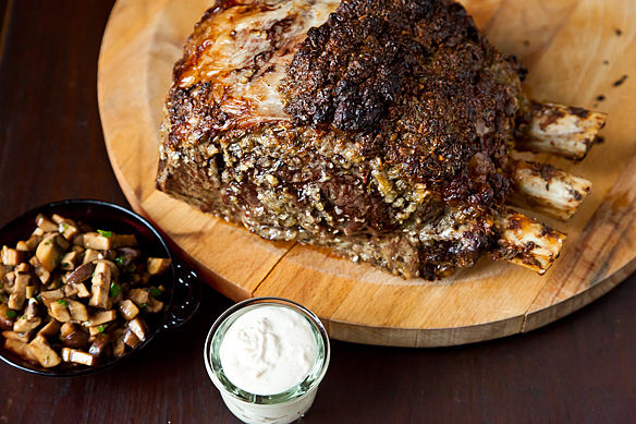 "<strong>Get the <a href=""http://food52.com/recipes/14661-roasted-prime-rib-with-sauteed-mushrooms-and-mom-s-creamy-horseradis"