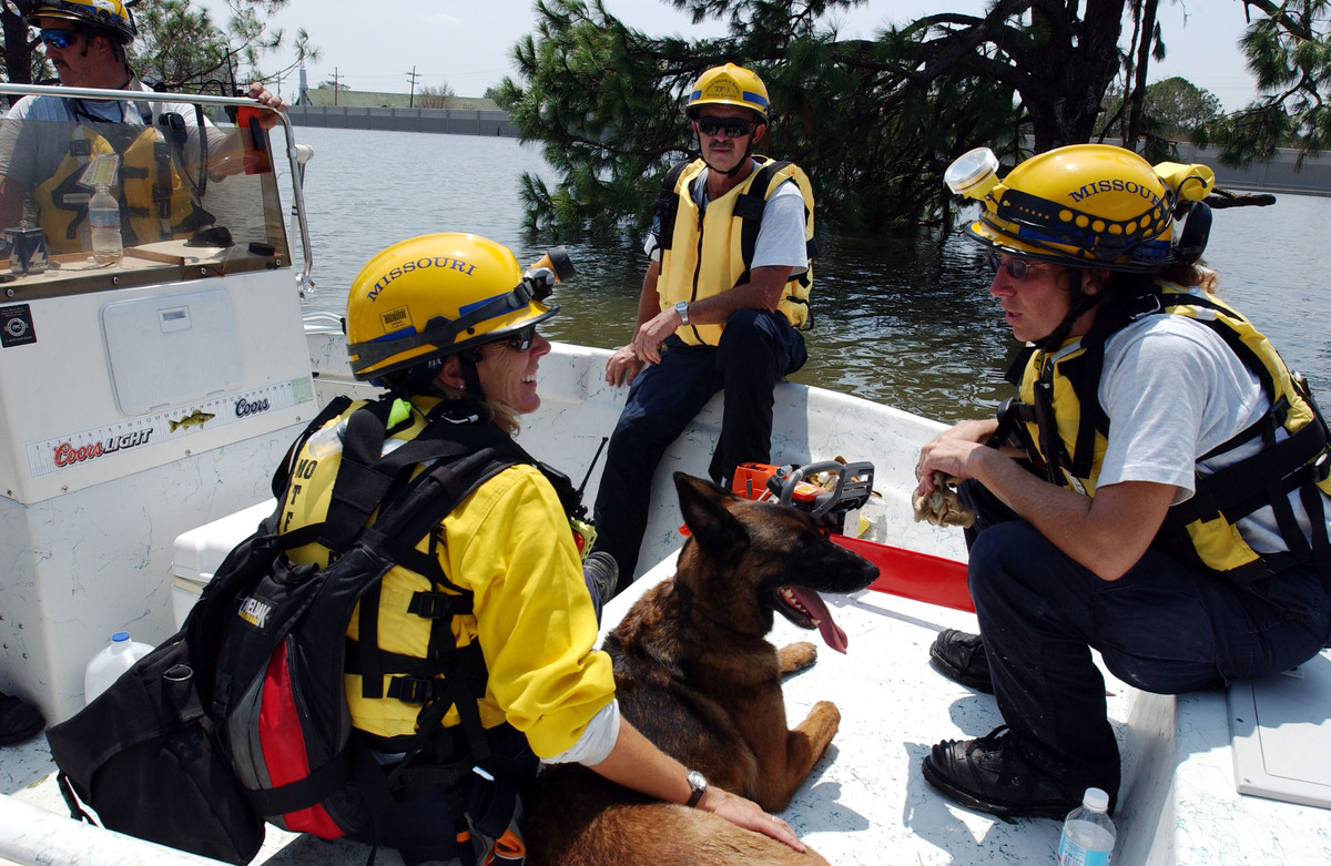 Members of the FEMA Urban Search and Rescue from Missouri ride to areas impacted by Hurricane Katrina to search for survivors