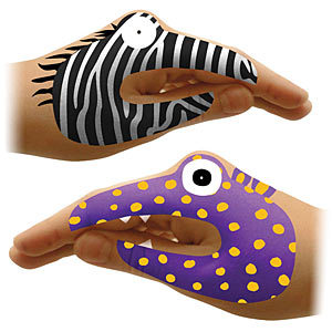 "Your hands becoming instant hand puppets with these fun and colorful temporary tattoos.   <a href=""http://www.thinkgeek.com/p"