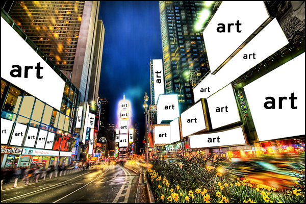 The original mockup of Times Square as an art gallery.