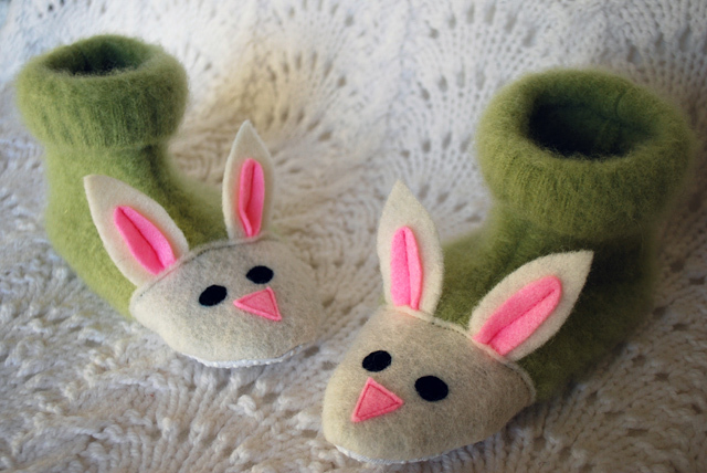 """This free pattern from <a href=""""http://www.merrimentdesign.com/fuzzy-bunny-slippers-from-recycled-felted-sweaters-for-kids-fr"""