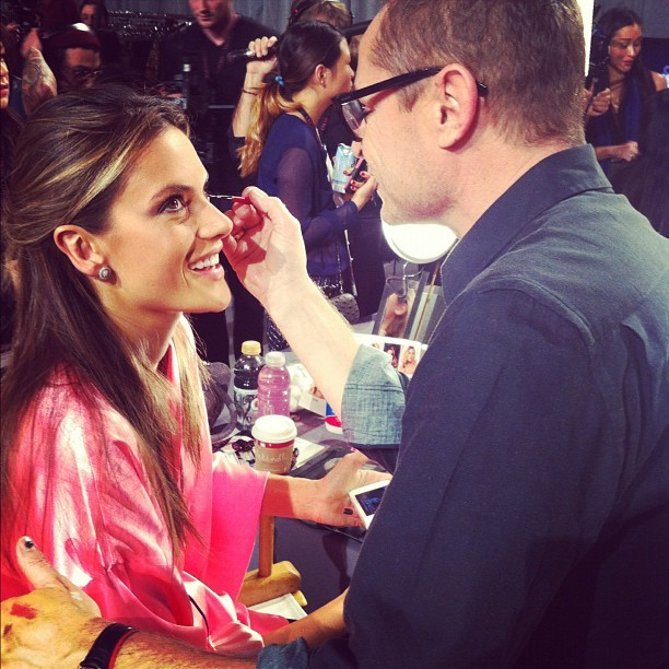 Spotted backstage at #VSFashionShow: Alessandra Ambrosio getting her makeup done by Tom Pecheux.
