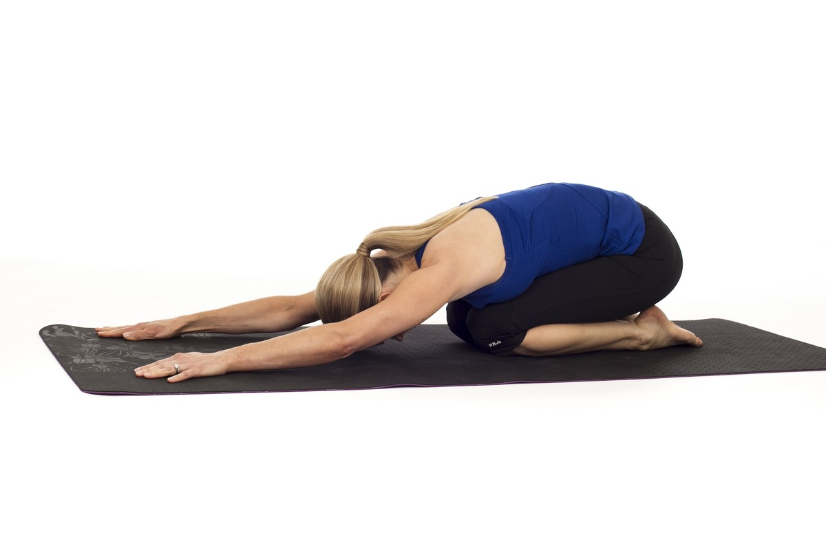 Brings blood flow to the face and calms our mind. Imagine dropping all of the contents of your brain into the mat and say bye