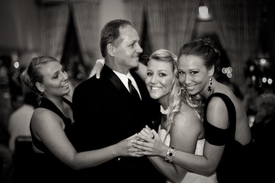 "Invite your sisters to join in your dance with dad.  See also: <a href=""http://lover.ly/search?q=black+dress&utm_source=huffp"