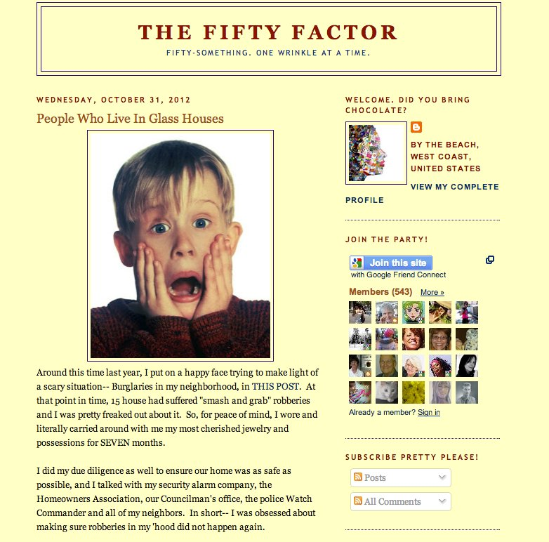 """<a href=""""http://www.thefiftyfactor.com/"""">The Fifty Factor</a> was launched by a very funny West Coast woman who introduces he"""