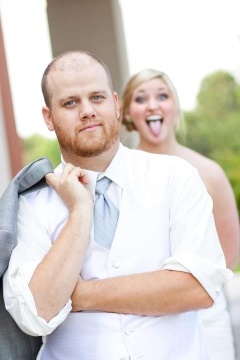 """Me photo-bombing my groom :)"" Submitted by Jessica Holland"