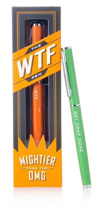 "<strong>WTF Pen | $14 | <a href=""http://www.knockknockstuff.com/catalog/categories/accessories/wtf-pen/"">Knock Knock</a></str"