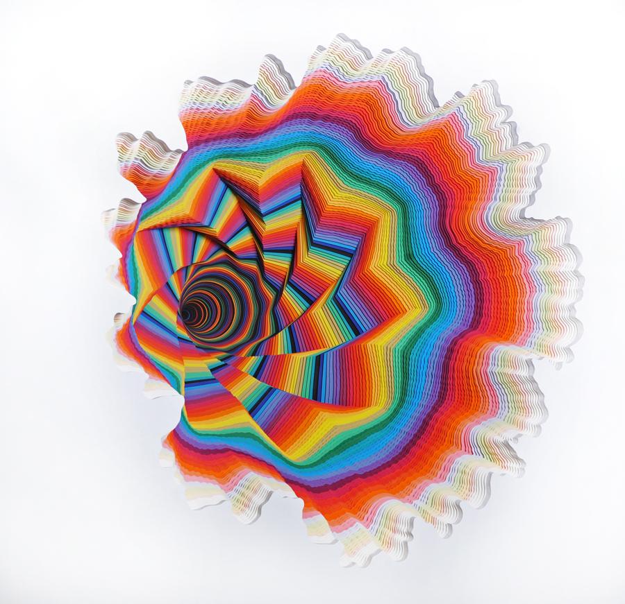"Jen Stark, ""Whole"", 2012, Hand-cut acid-free paper, foam board, glue, 3 x 3 x 3.5 ft, Photo credit: Kristy Leibowitz, Courtes"