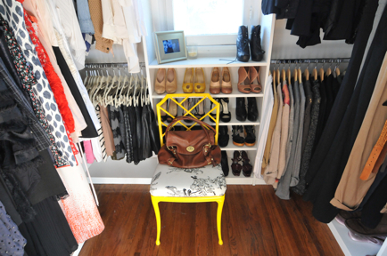 "<a href=""http://cupcakesandcashmere.com/operation-organization-closet-edition/"">This blogger's </a>pretty painted yellow chai"