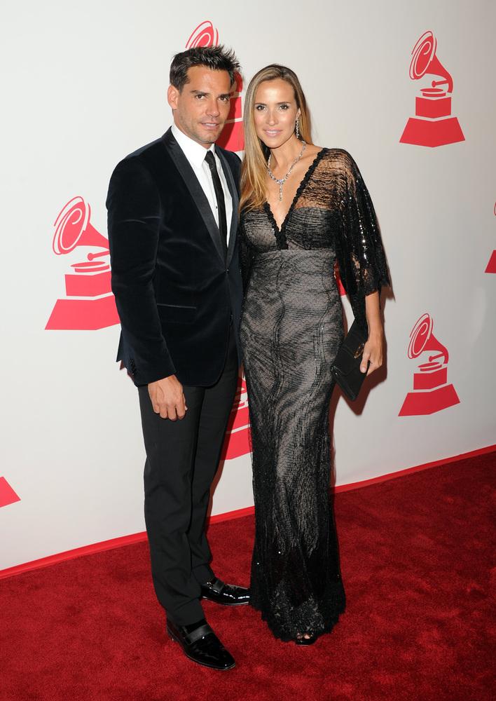 LAS VEGAS, NV - NOVEMBER 14:  Actcor Cristian de la Fuente and  Angelica Castro arrive at the 2012 Latin Recording Academy Pe