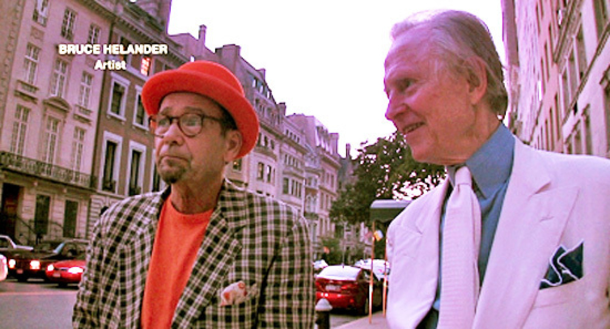 Bruce Helander and Tom Wolfe chatting about Miami as they walk through Manhattan, 2009. Photo credit: AGITS Productions