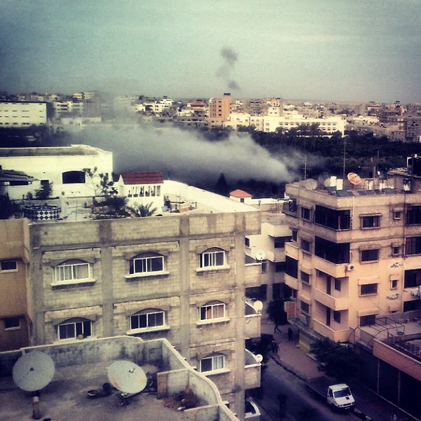 """""""Right Now. Photo taken from my apartment showing another explosion from the Israeli attacks on Gaza. Now this is too close t"""