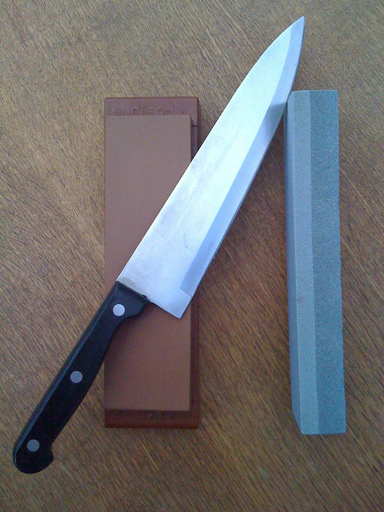 Use a whetstone to make sure your knives are ready for some serious slicing a dicing. First, soaks the stone in water for 10-