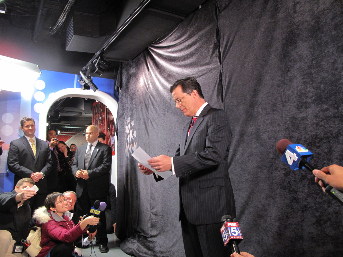 Stephen Colbert speaks to the press before his Madame Tussauds unveiling.