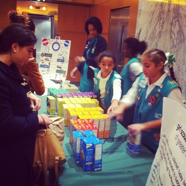Happening in our lobby right now: Girl Scout cookie sale!