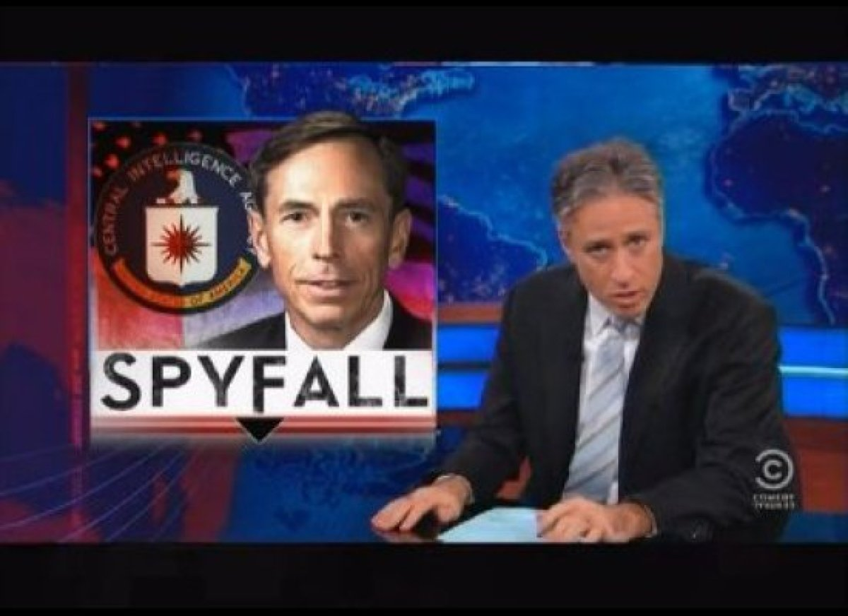 """With the election over, Jon Stewart has no choice but to turn to the David Petraeus affair scandal and the <a href=""""http://gt"""