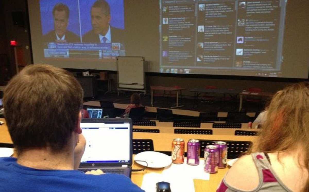 University of Nebraska at Omaha students participated in two DebateWatch events on campus in 2012.