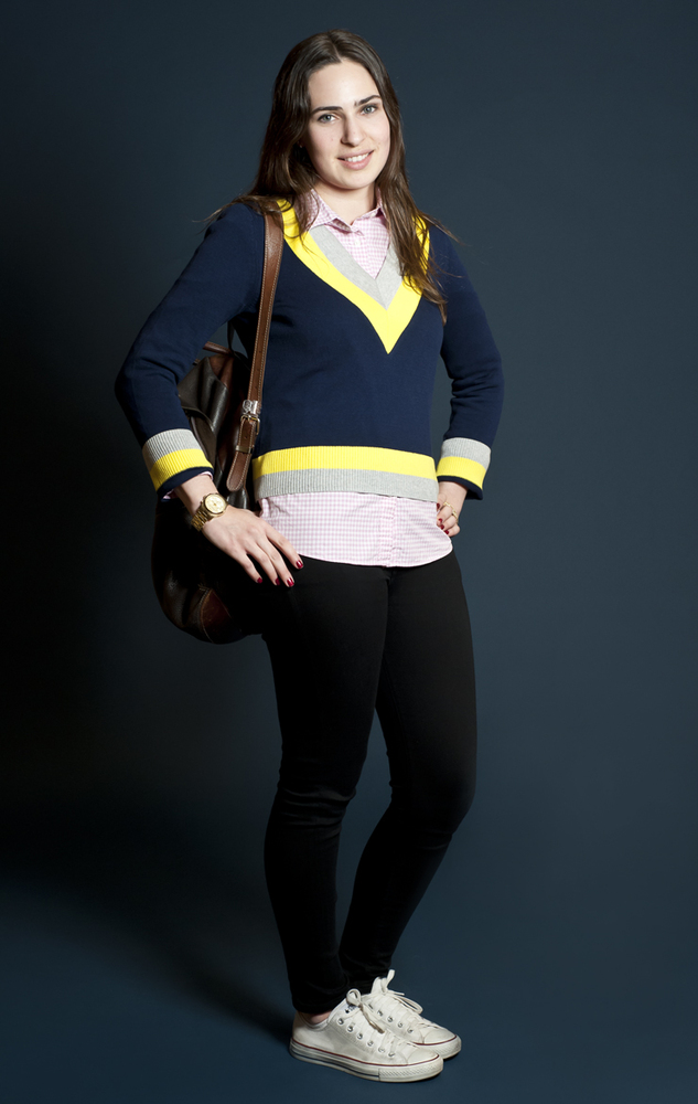 """Ilana's student uniform consists of skinny jeans and a baggy top. She describes her look as very functional. """"I take the trai"""