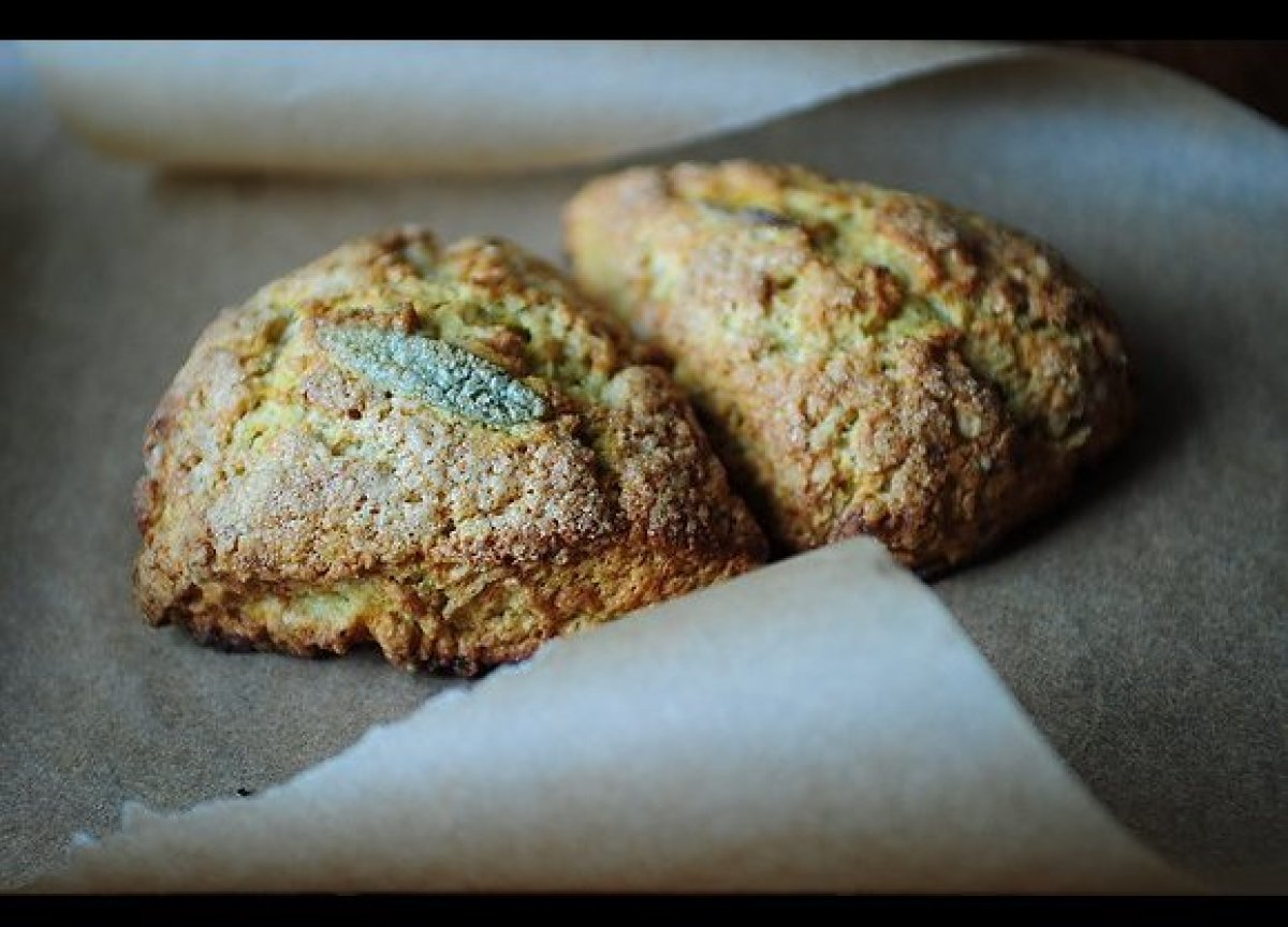 These scones are a great way to use up steamed or pureed butternut squash: they're incredibly moist, perfumed with sage, and