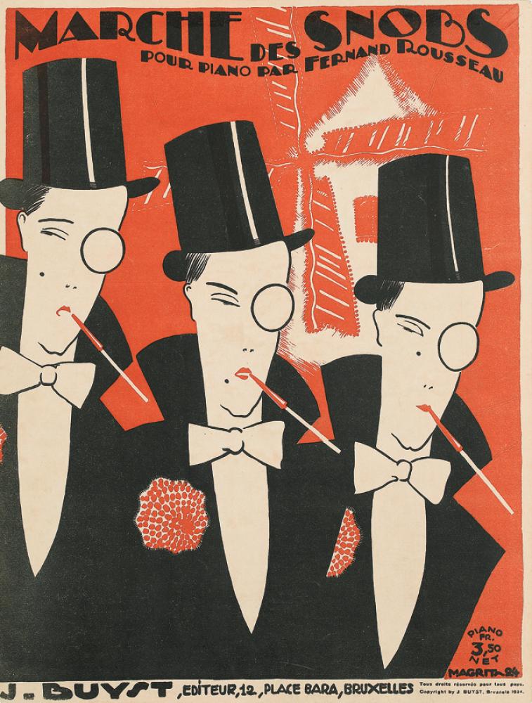 René Magritte, Marche des Snobs, sheet music cover, 1924. Estimate $1,000 to $1,500.